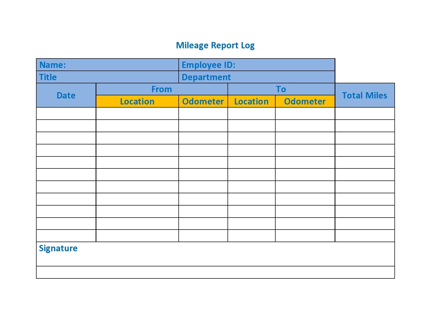 Mileage Log Template 16