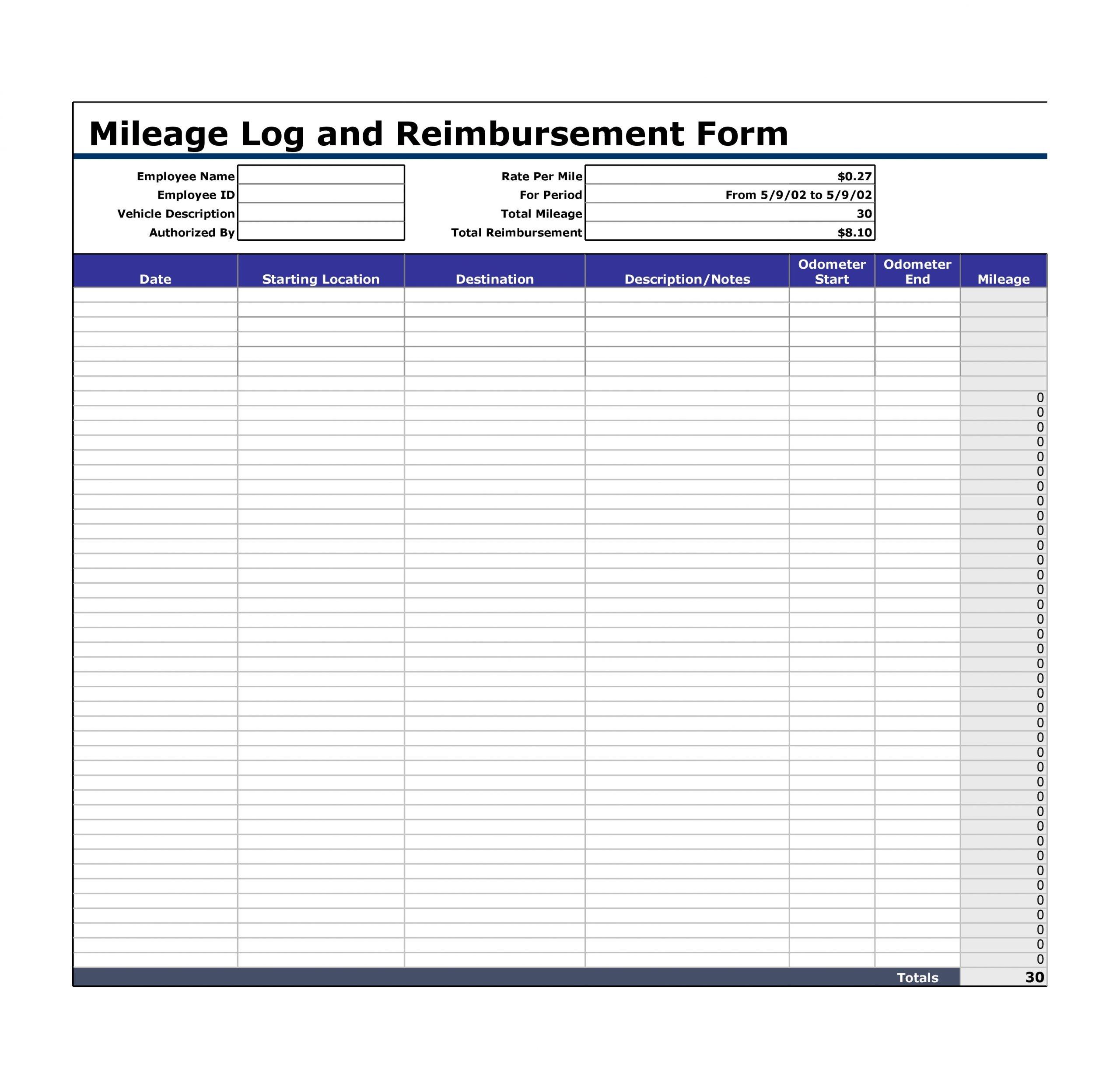 Mileage Log Template 22