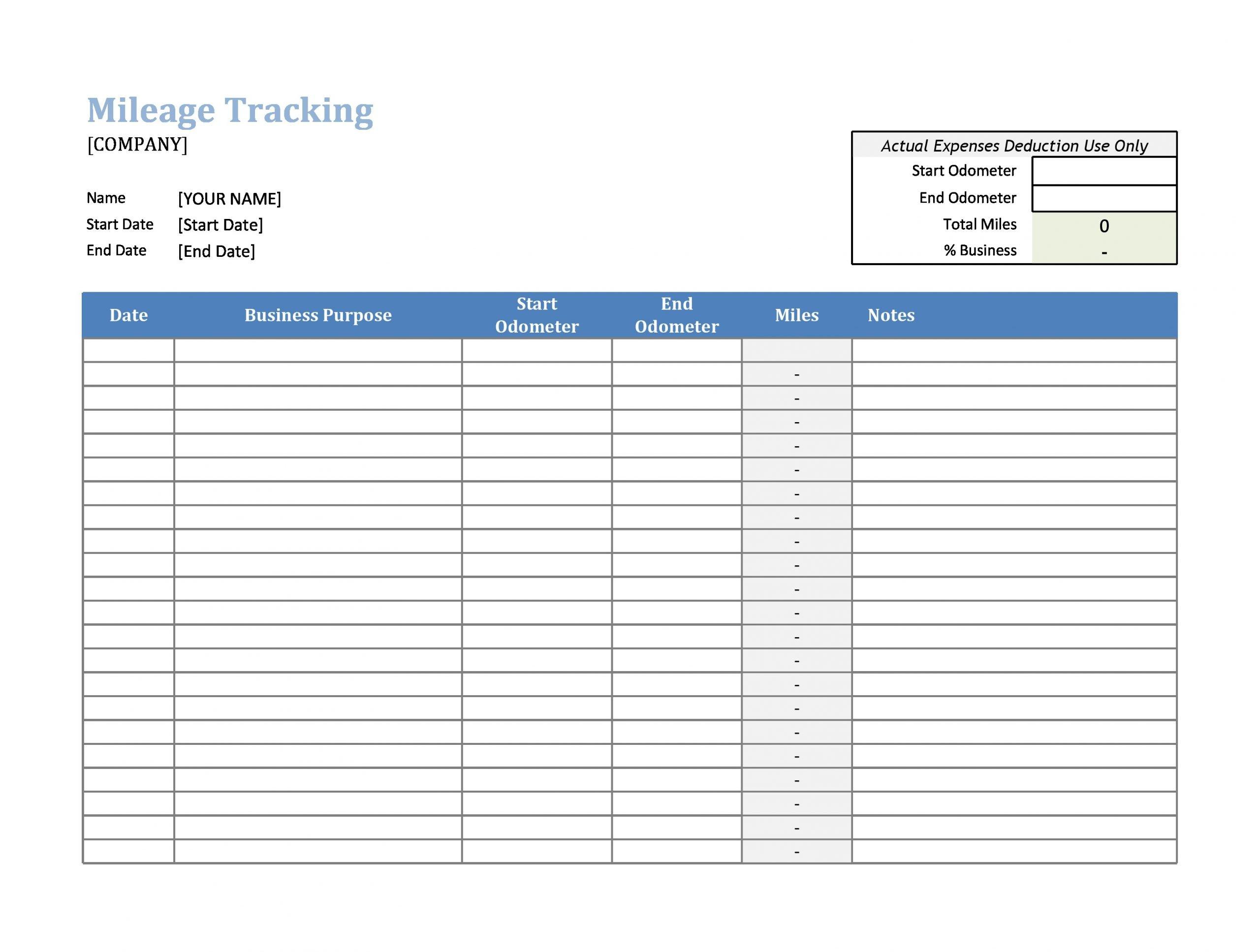 Mileage Log Template 27