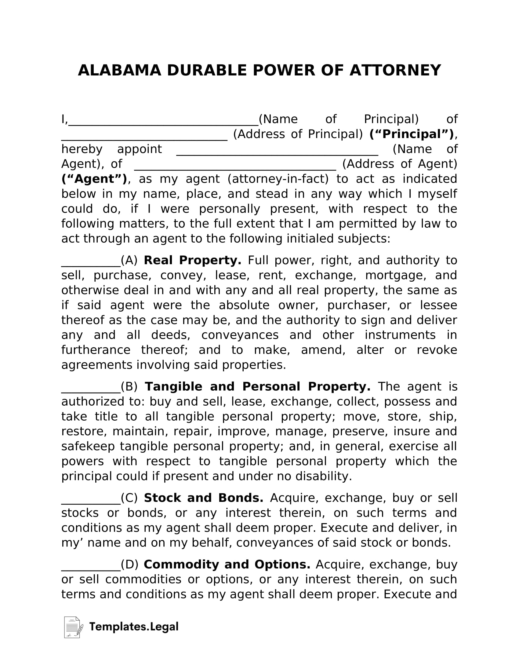 Alabama Durable Power of Attorney - Templates.Legal