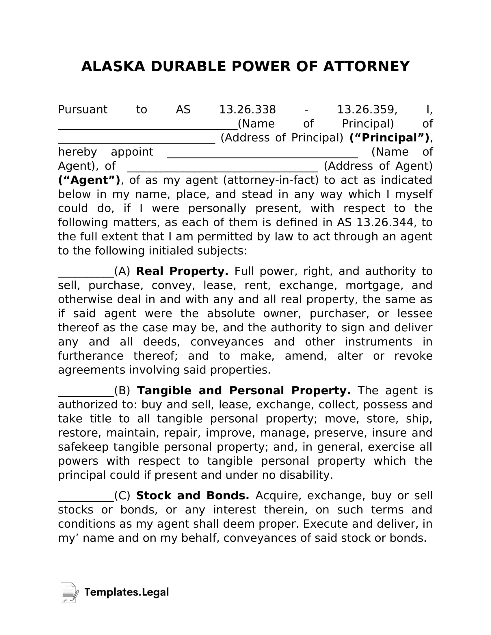 Alaska Durable Power of Attorney - Templates.Legal