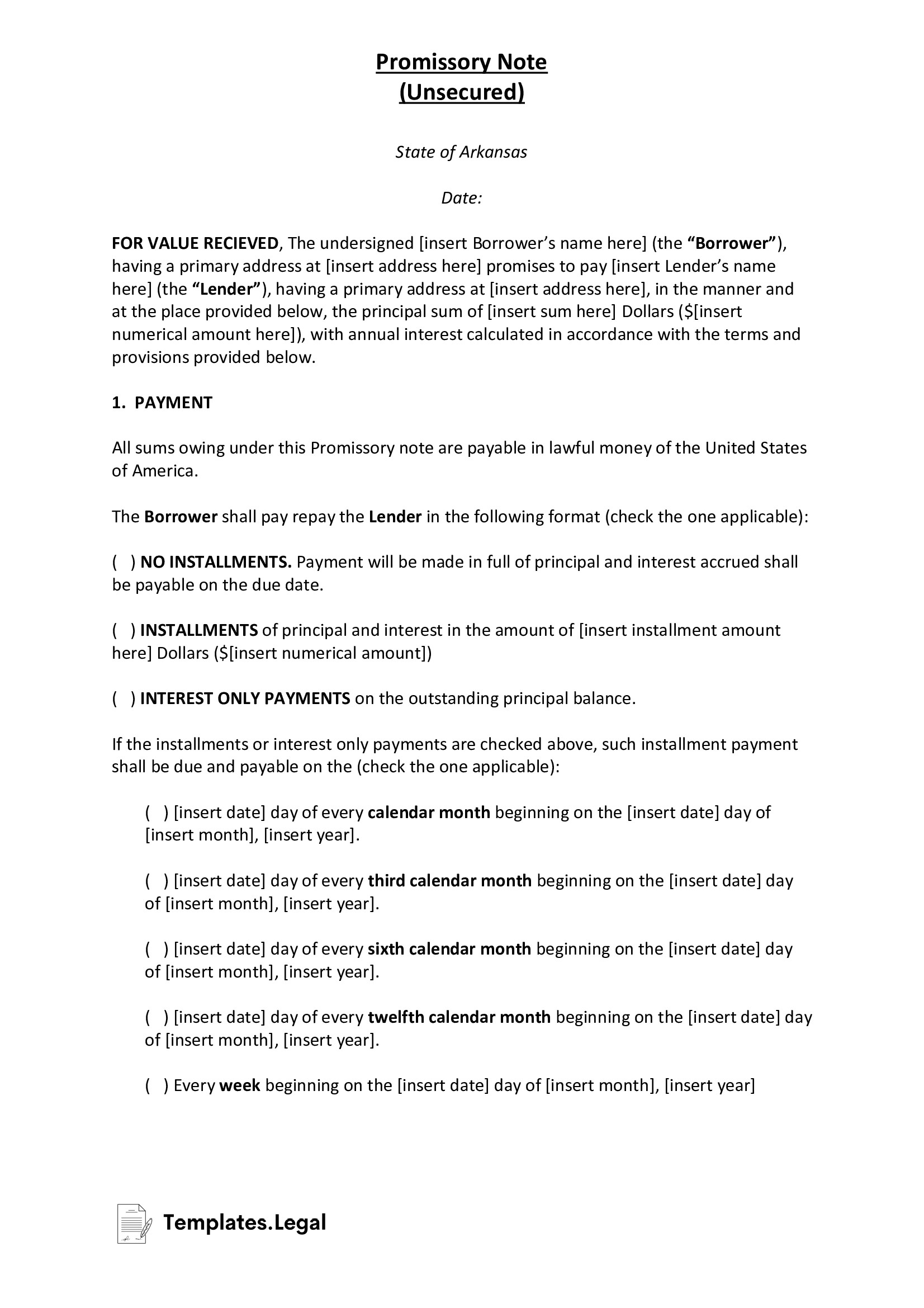 Arkansas Unsecured Promissory Note - Templates.Legal