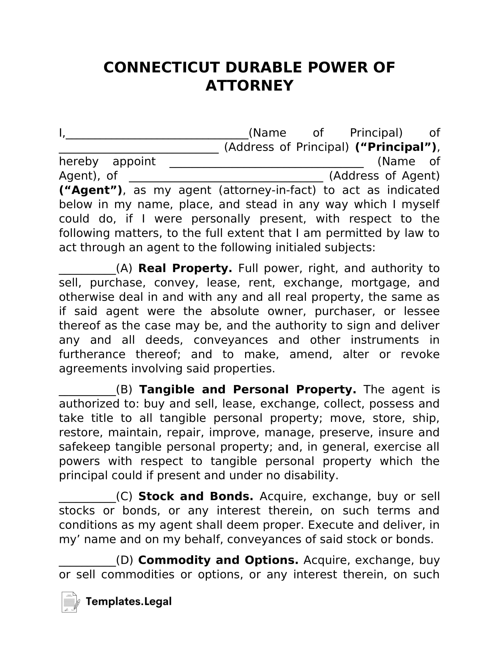 Connecticut Durable Power of Attorney - Templates.Legal