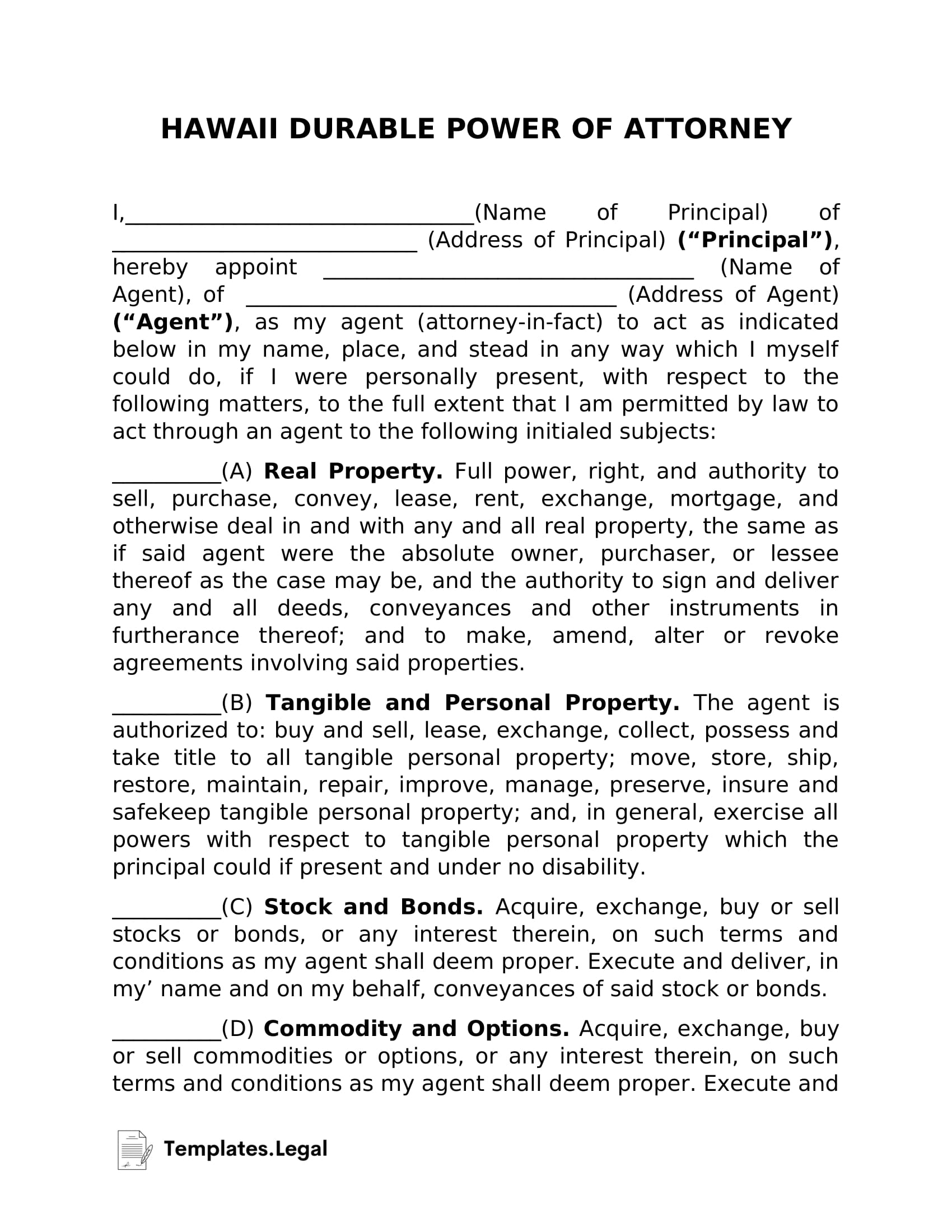 Hawaii Durable Power of Attorney - Templates.Legal