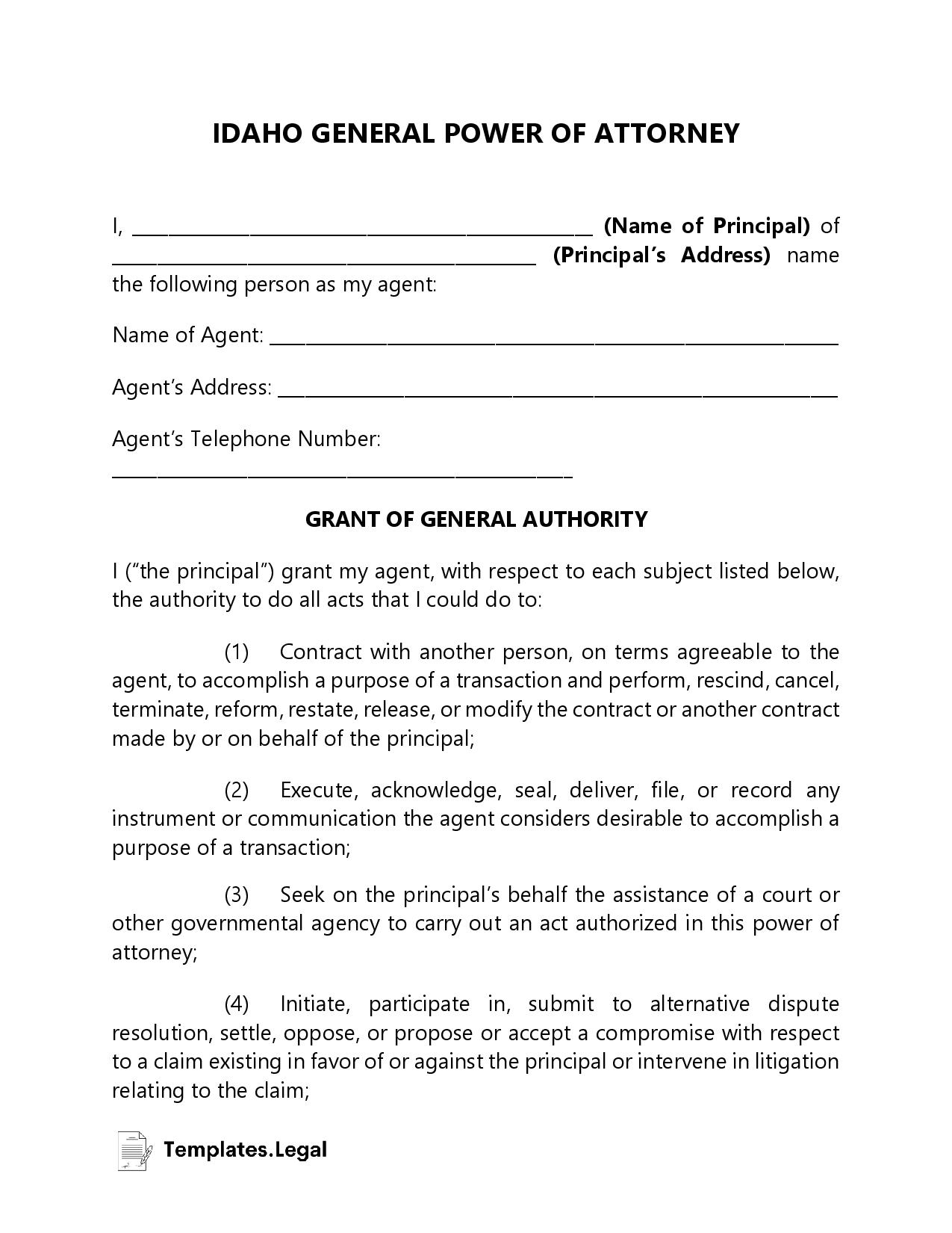 Idaho General Power of Attorney - Templates.Legal