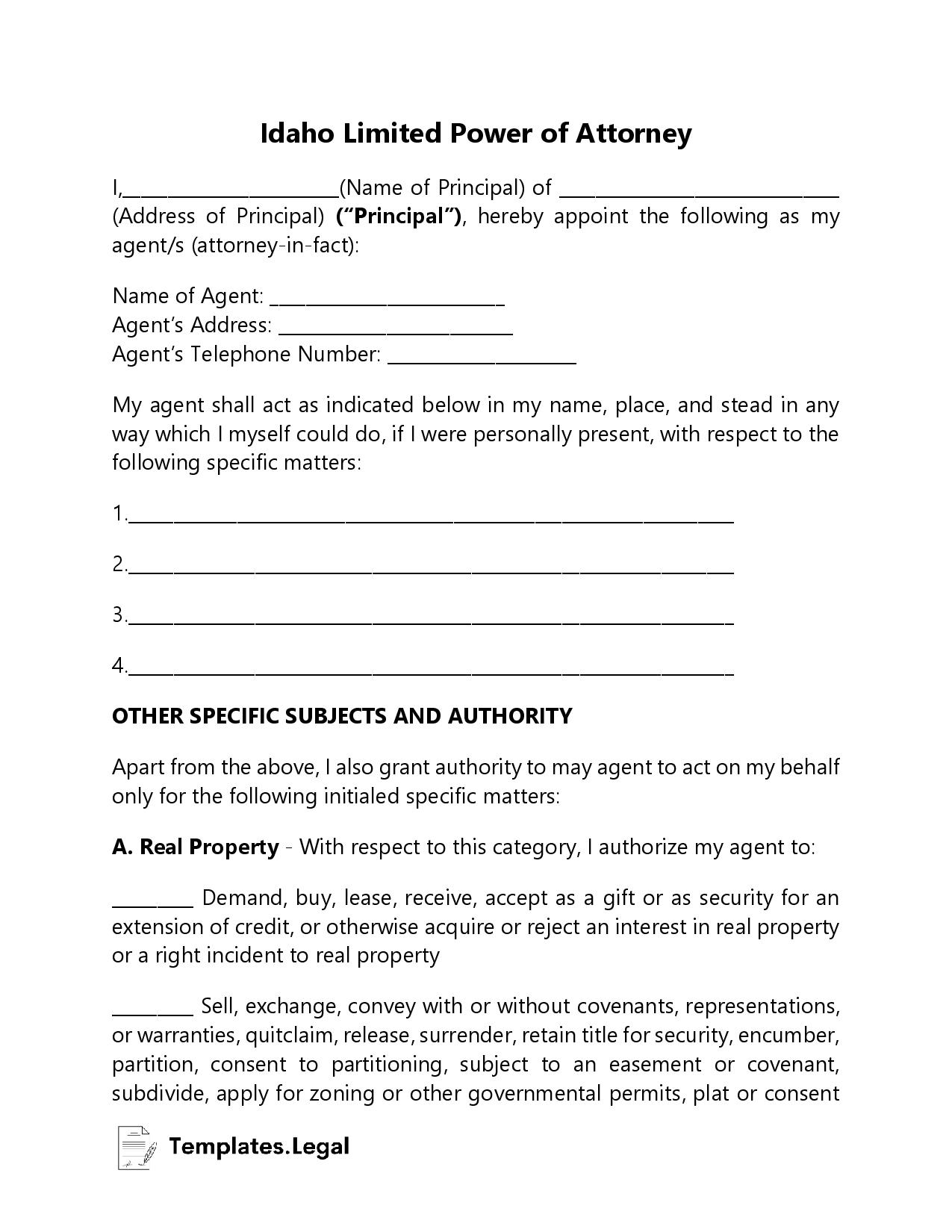 Idaho Limited Power of Attorney - Templates.Legal