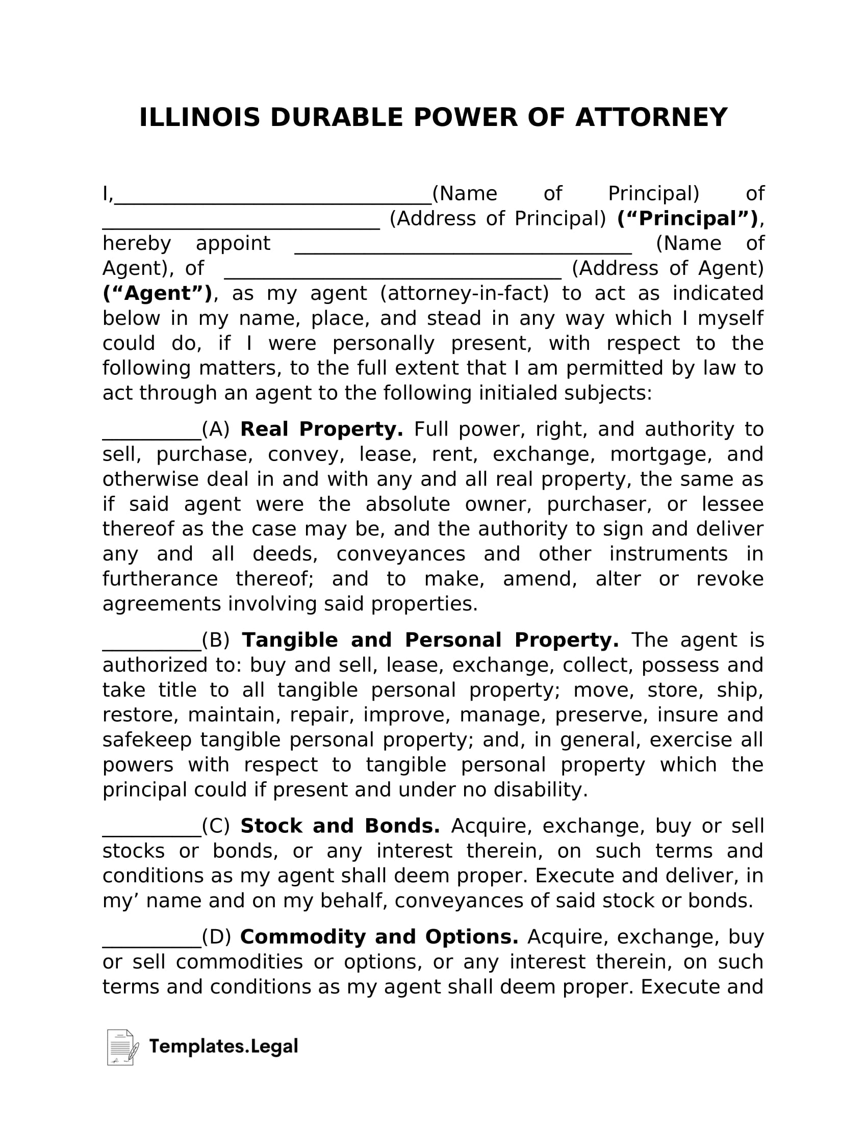 Illinois Durable Power of Attorney - Templates.Legal