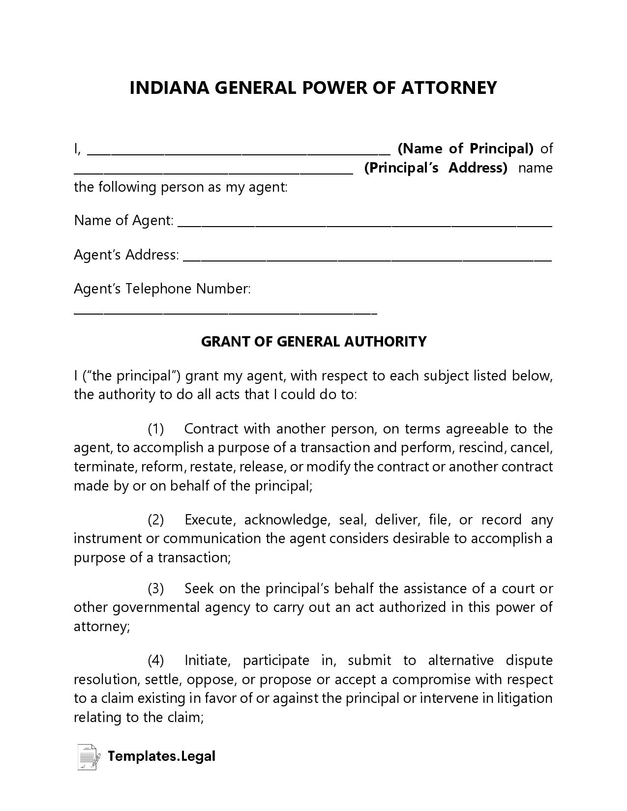 Indiana General Power of Attorney - Templates.Legal