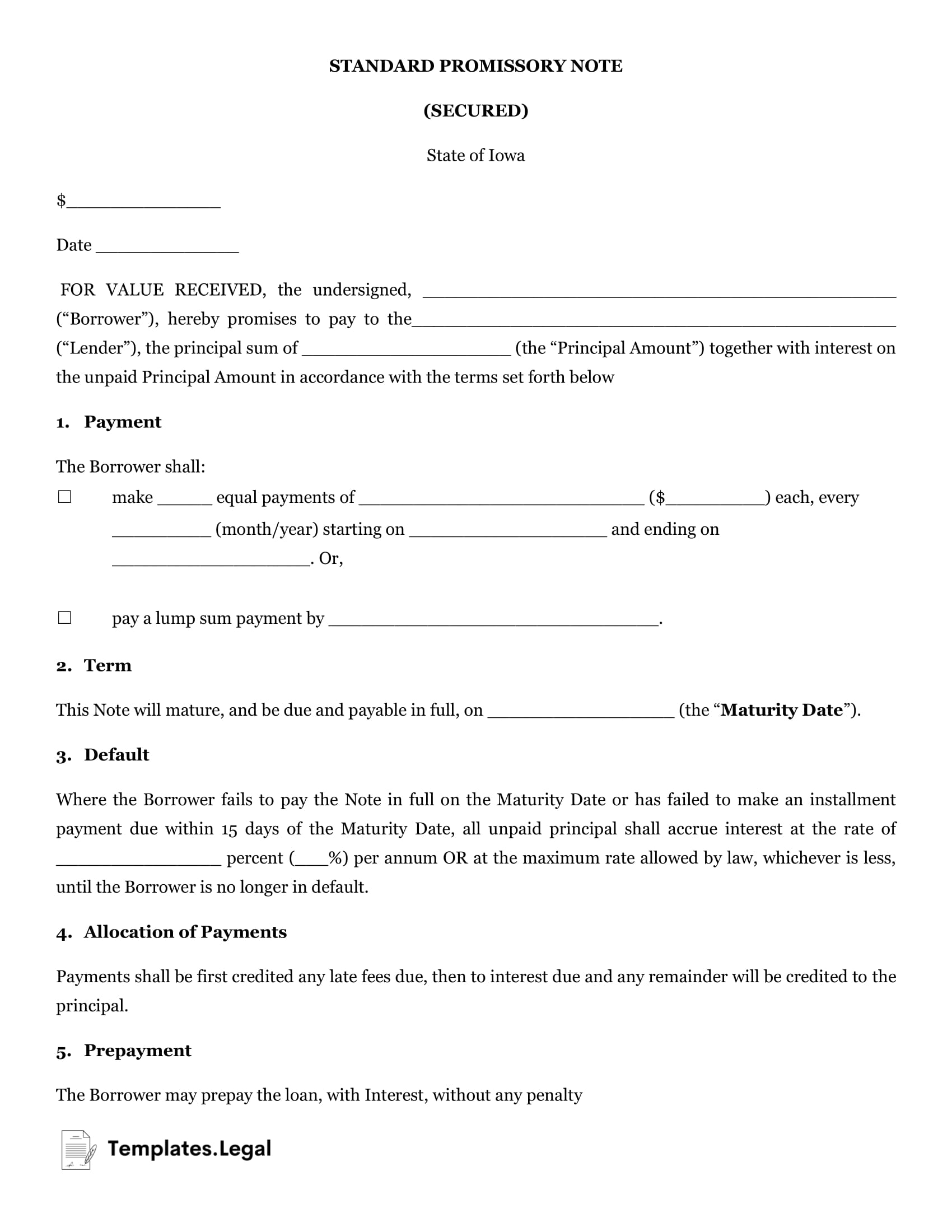Iowa Secured Promissory Note - Templates.Legal
