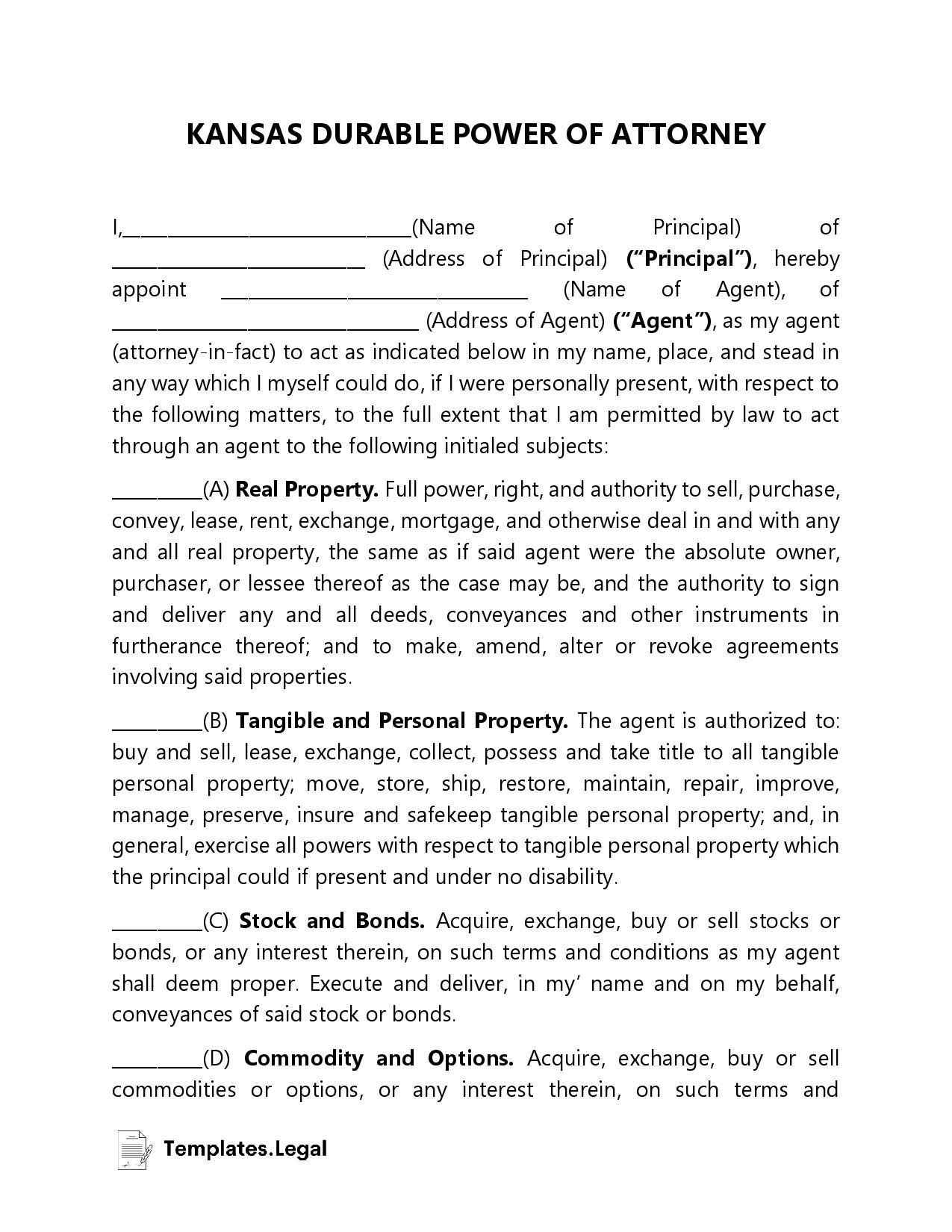Kansas Durable Power of Attorney - Templates.Legal