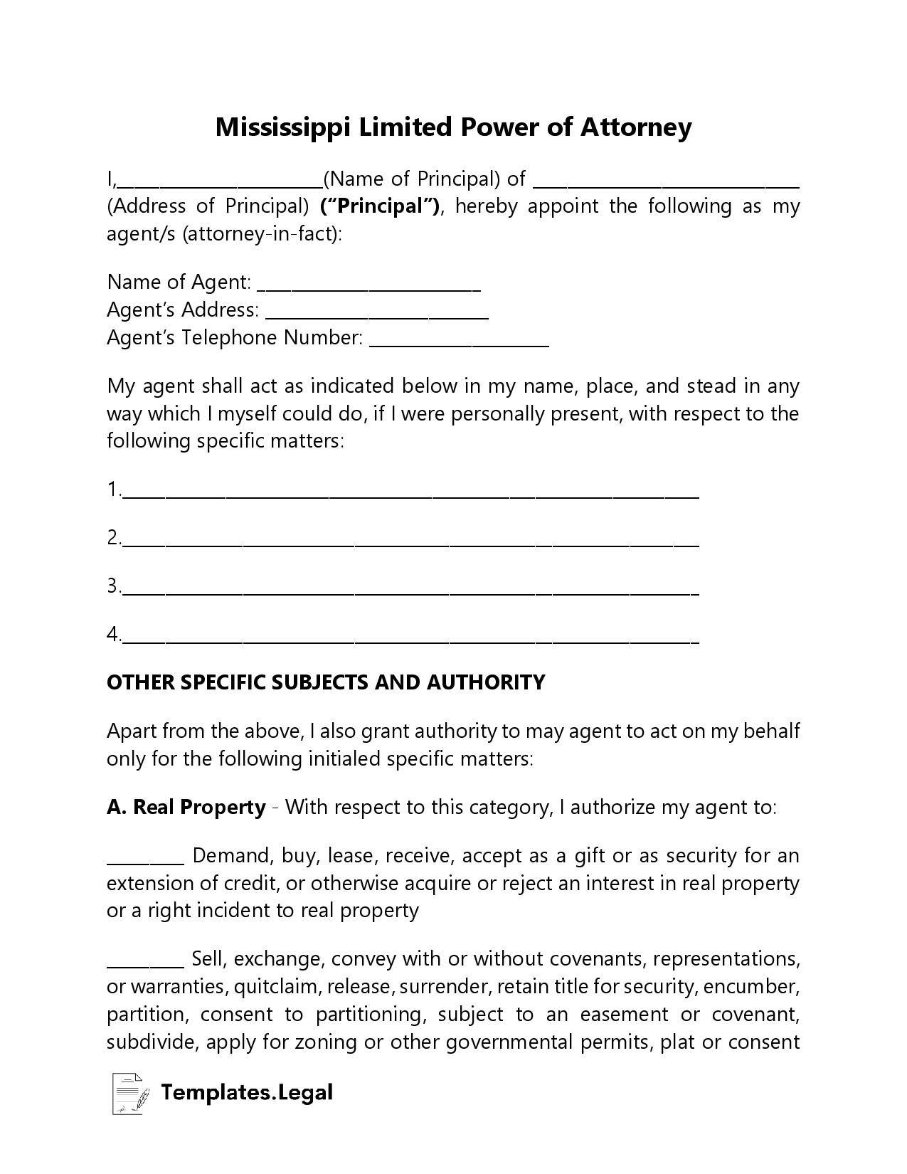 Mississippi Limited Power of Attorney - Templates.Legal