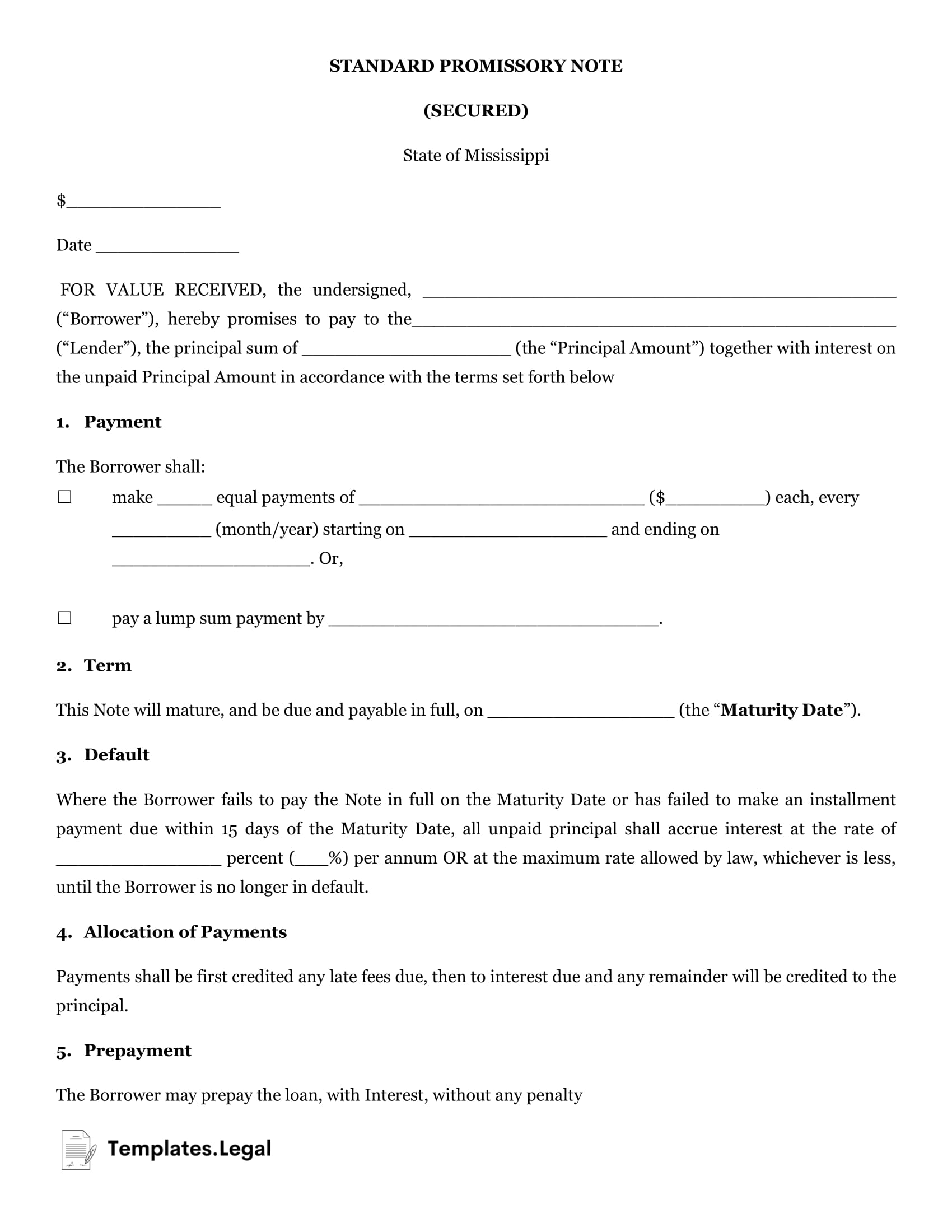 Mississippi Secured Promissory Note - Templates.Legal