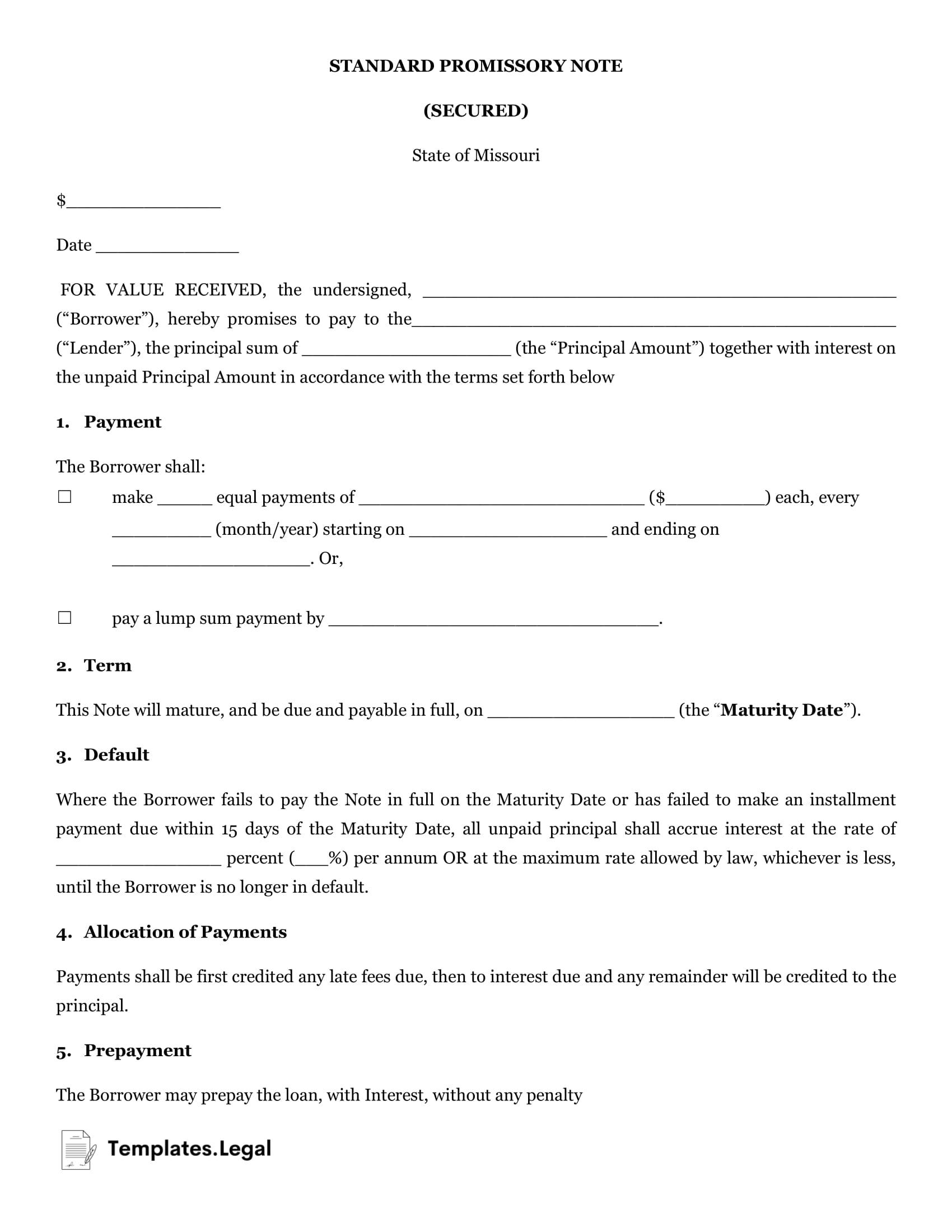Missouri Secured Promissory Note - Templates.Legal
