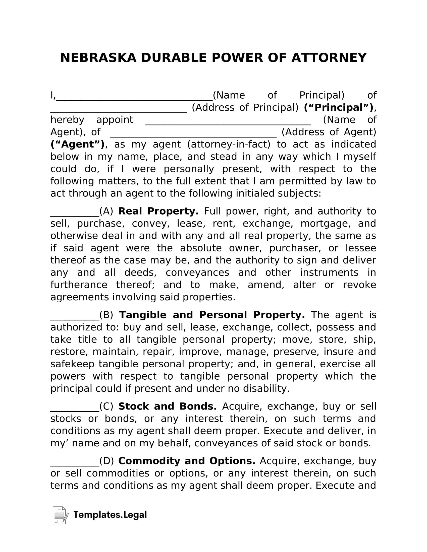 Nebraska Durable Power of Attorney - Templates.Legal