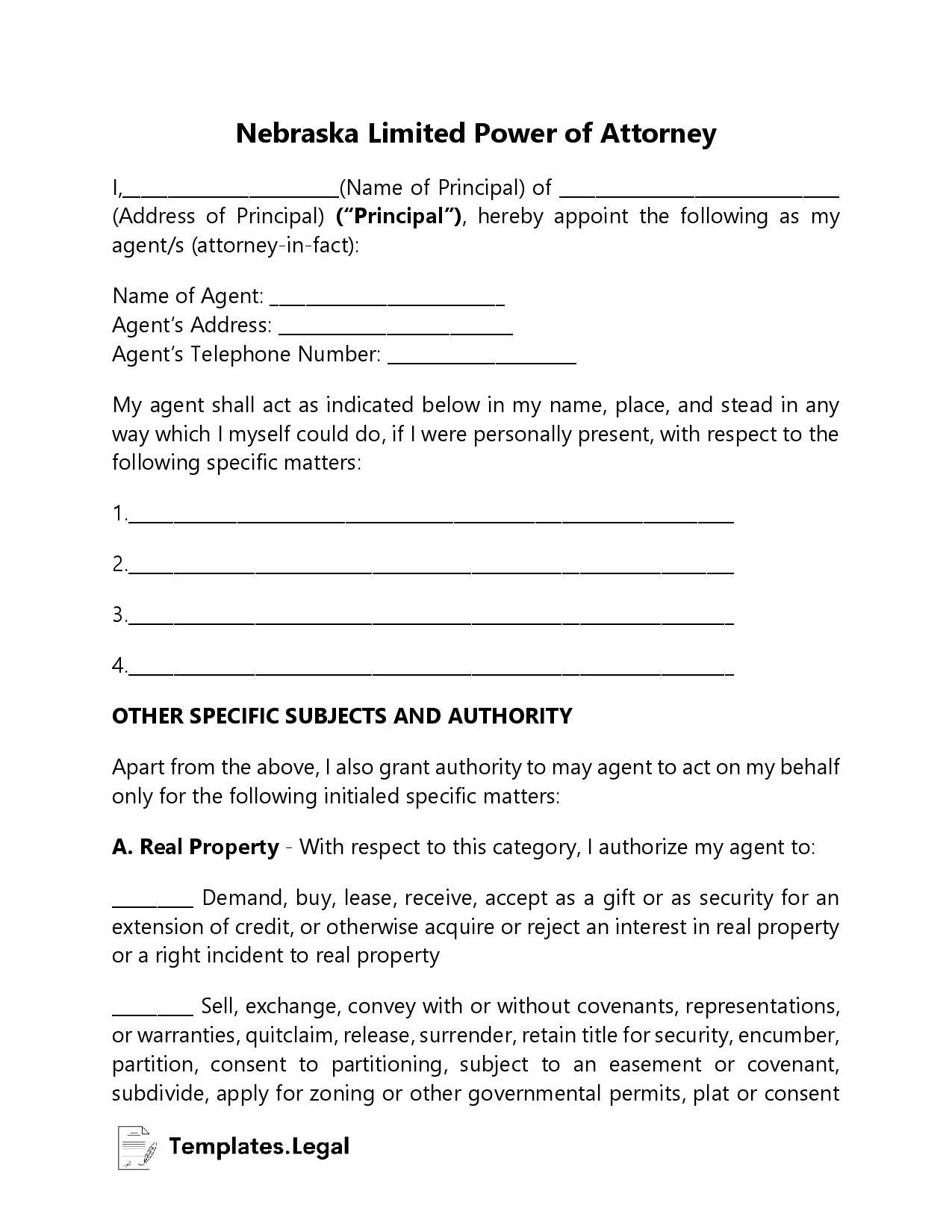 Nebraska Limited Power of Attorney - Templates.Legal