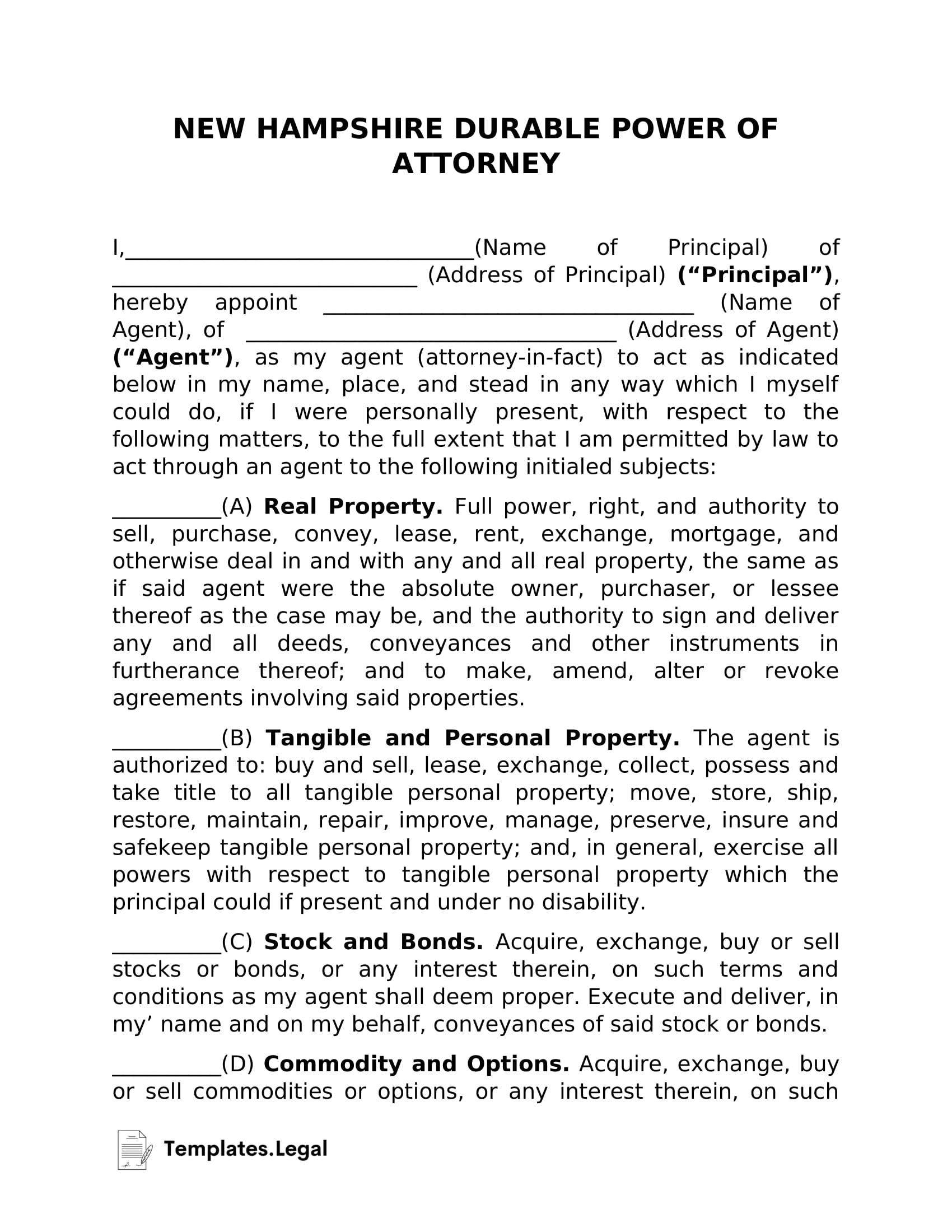 New Hampshire Durable Power of Attorney - Templates.Legal