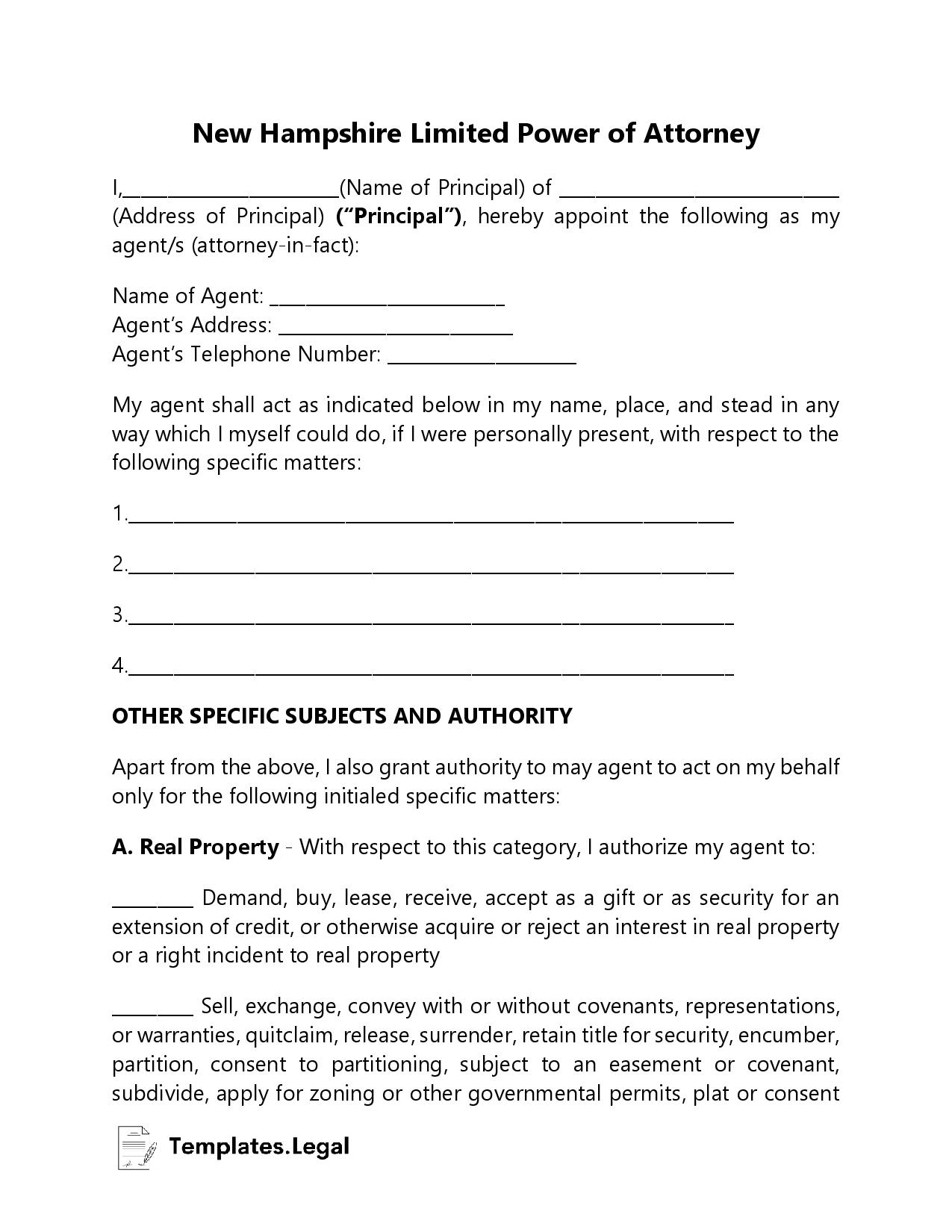 New Hampshire Limited Power of Attorney - Templates.Legal
