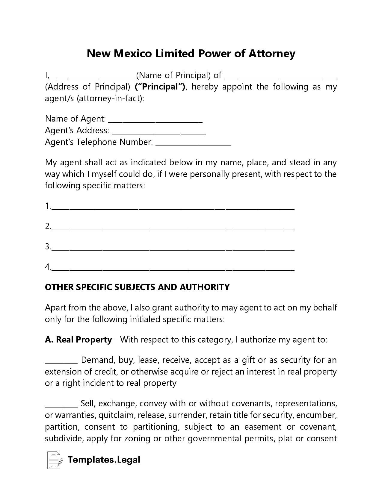 New Mexico Limited Power of Attorney - Templates.Legal