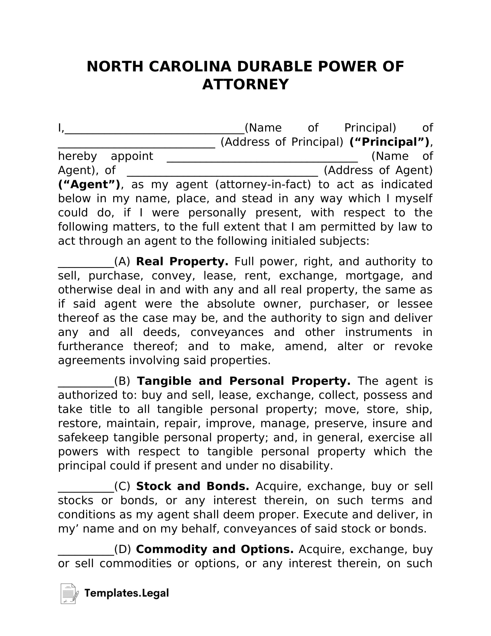 North Carolina Durable Power of Attorney - Templates.Legal