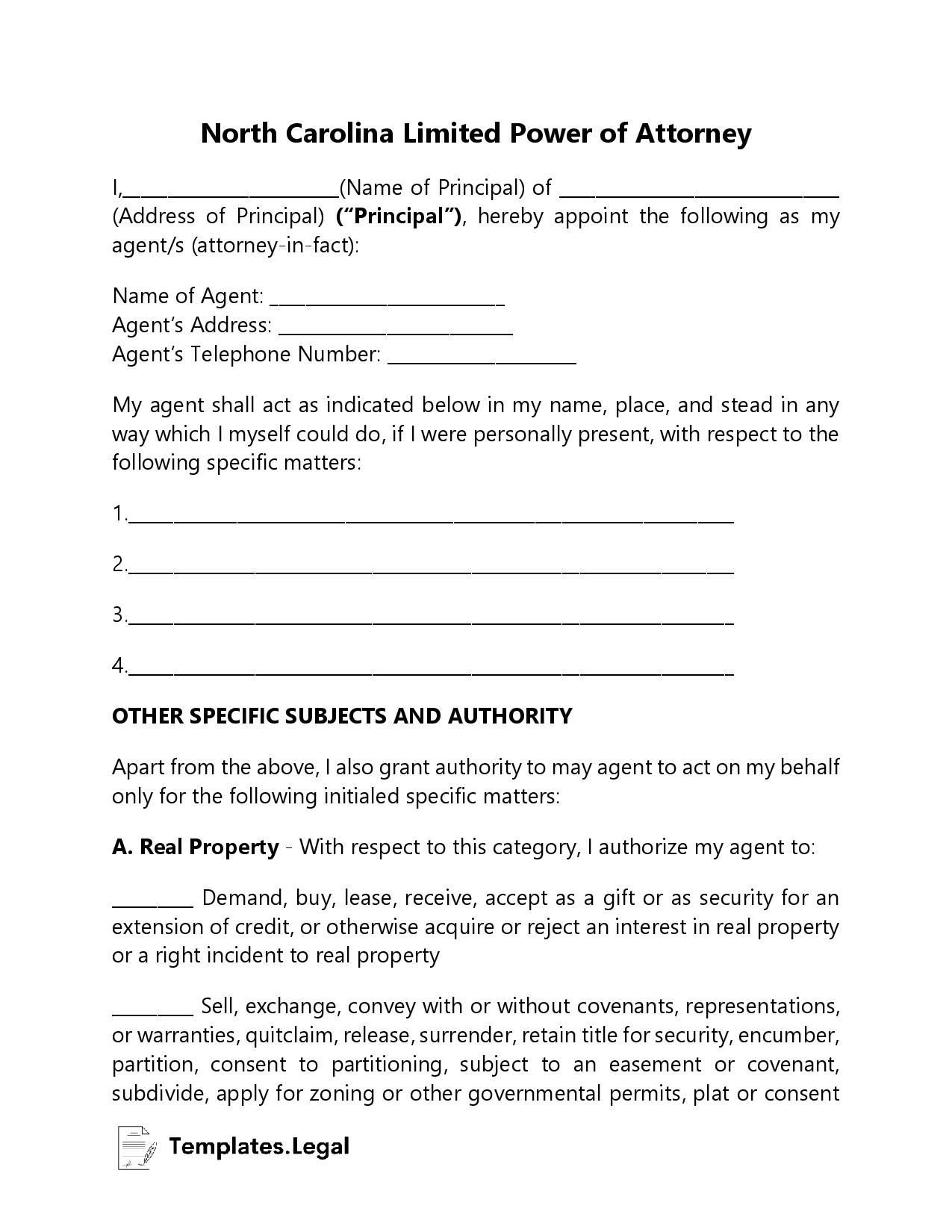 North Carolina Limited Power of Attorney - Templates.Legal