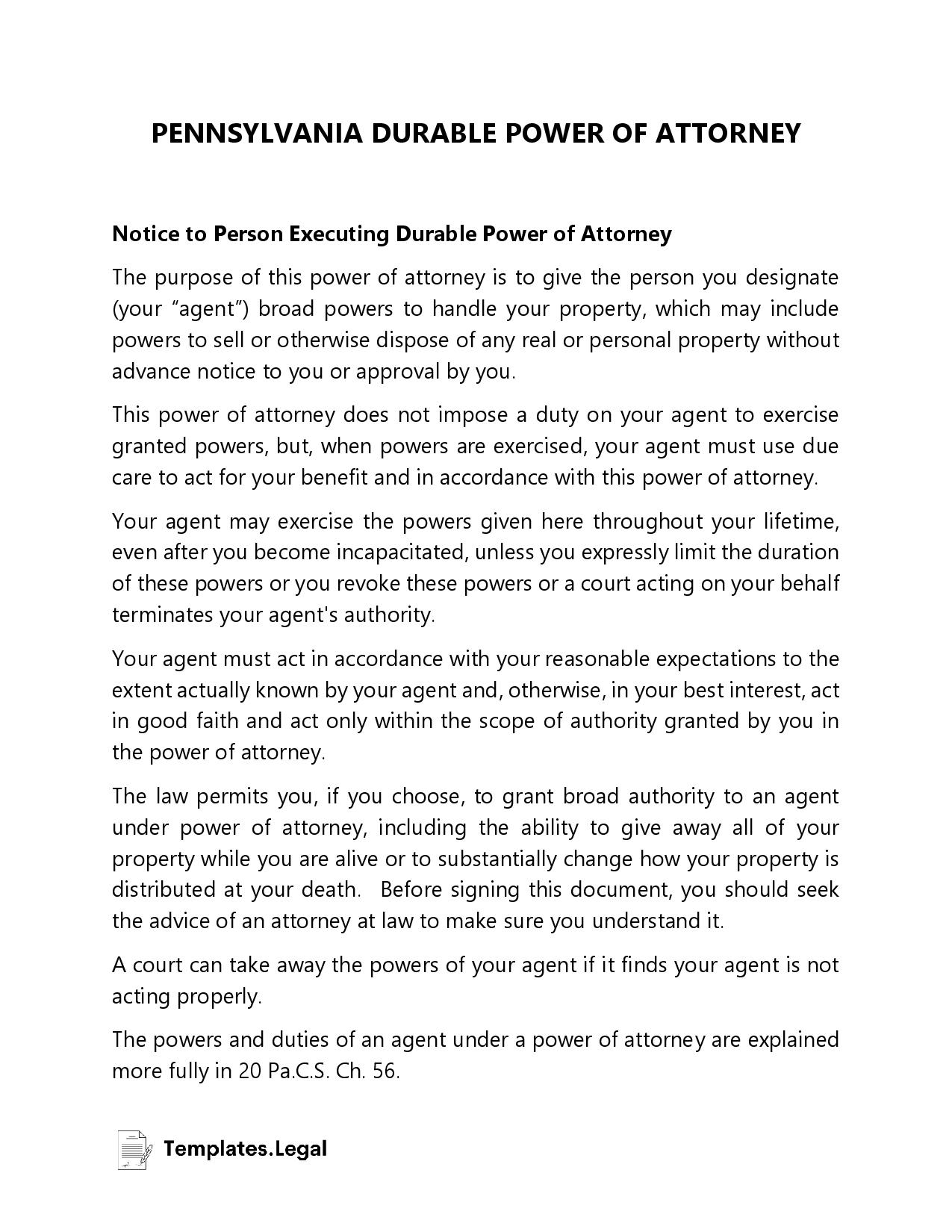 Pennsylvania Durable Power of Attorney - Templates.Legal