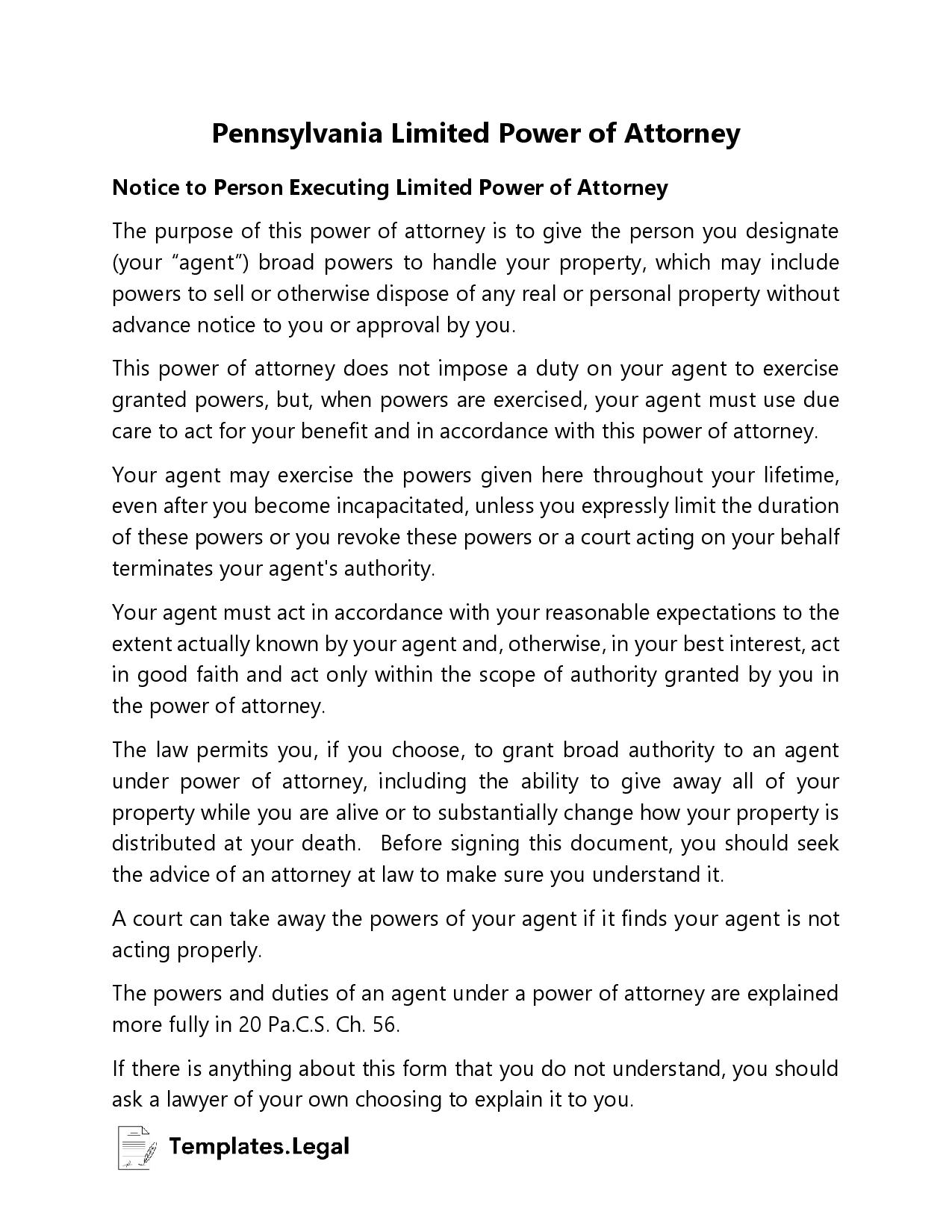 Pennsylvania Limited Power of Attorney - Templates.Legal