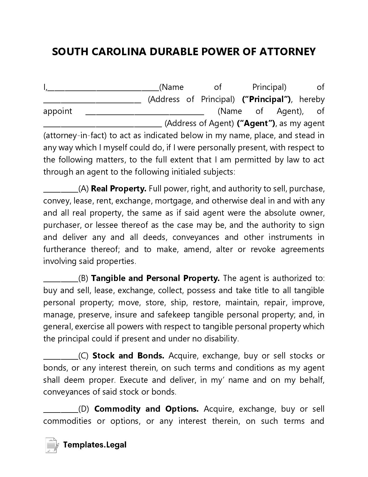 South Carolina Durable Power of Attorney - Templates.Legal