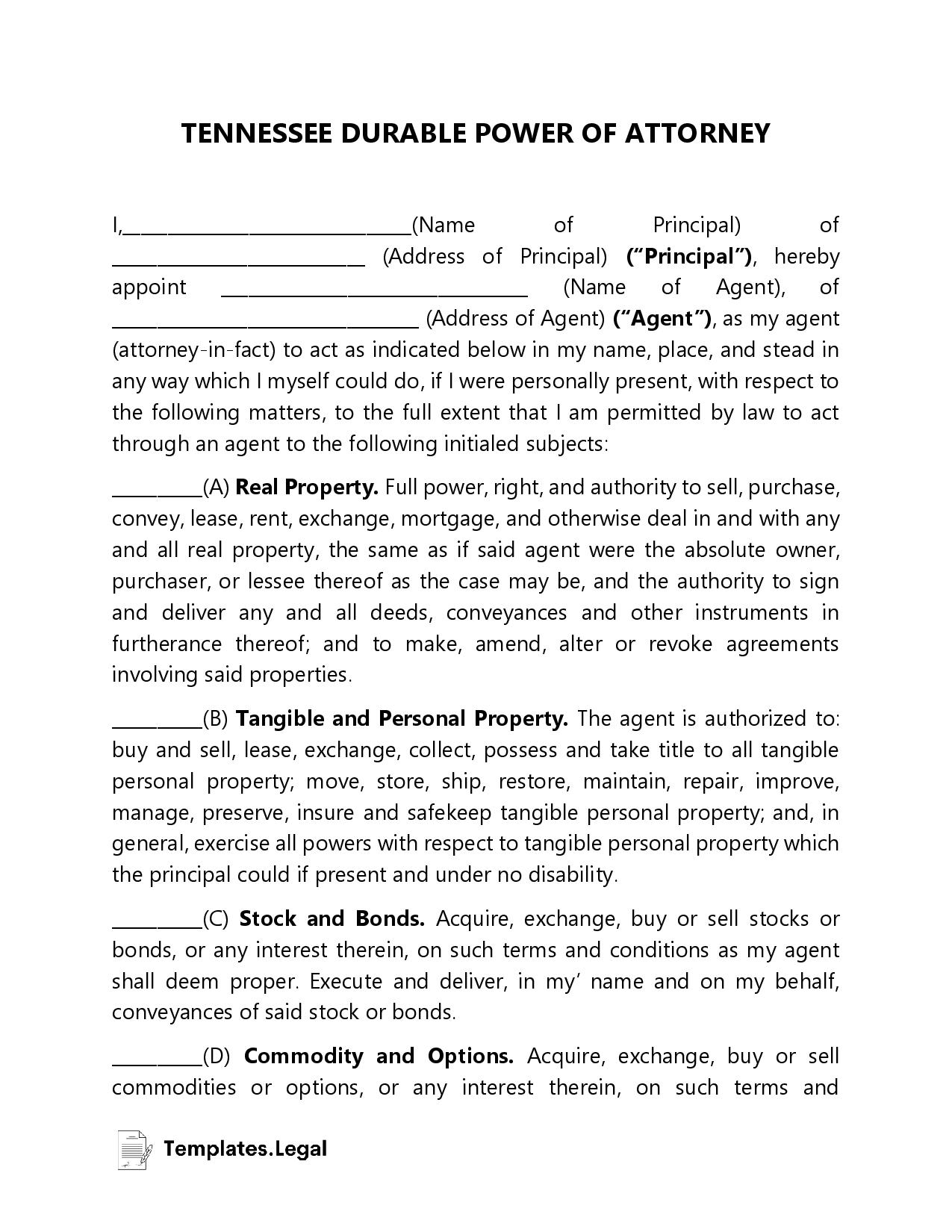 Tennessee Durable Power of Attorney - Templates.Legal