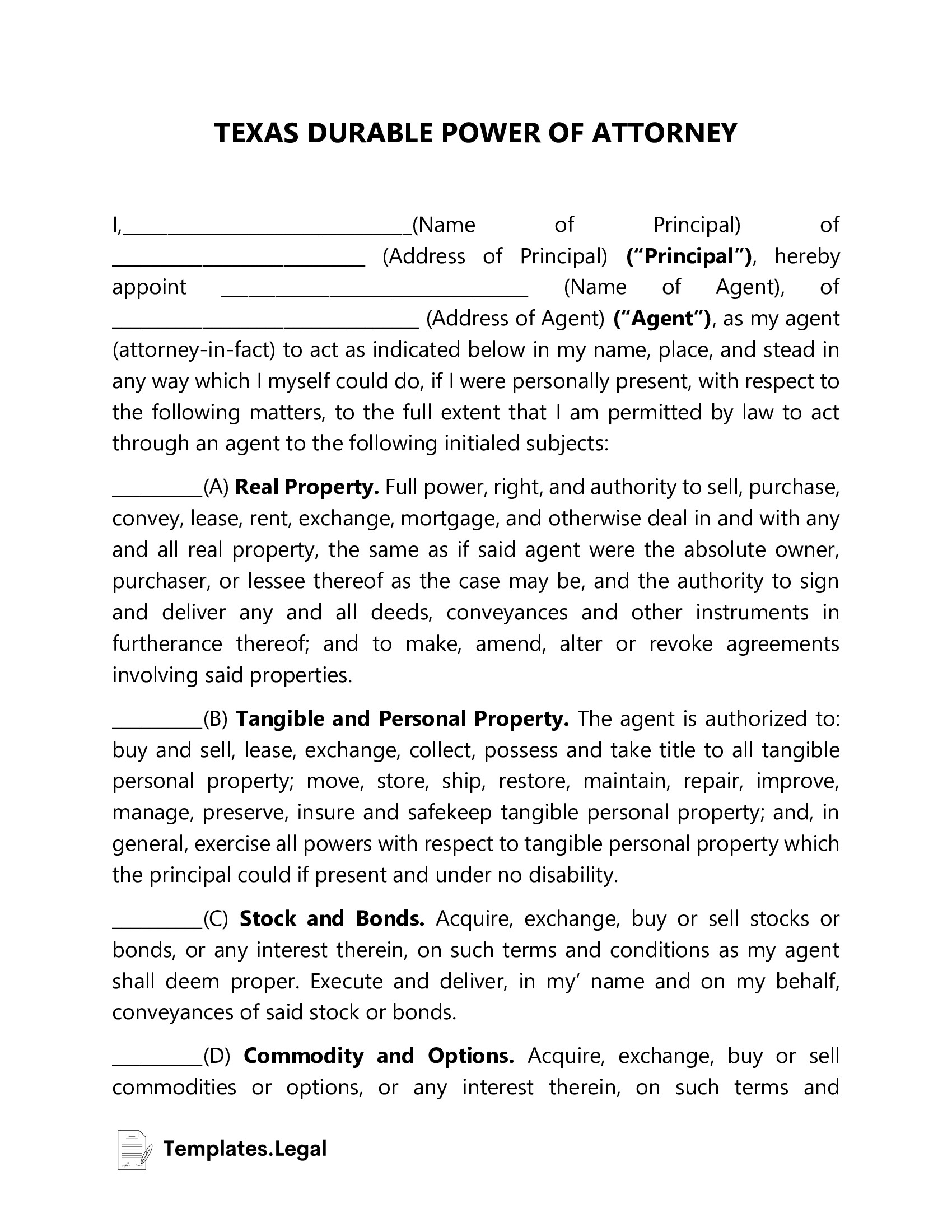 Texas Durable Power of Attorney - Templates.Legal