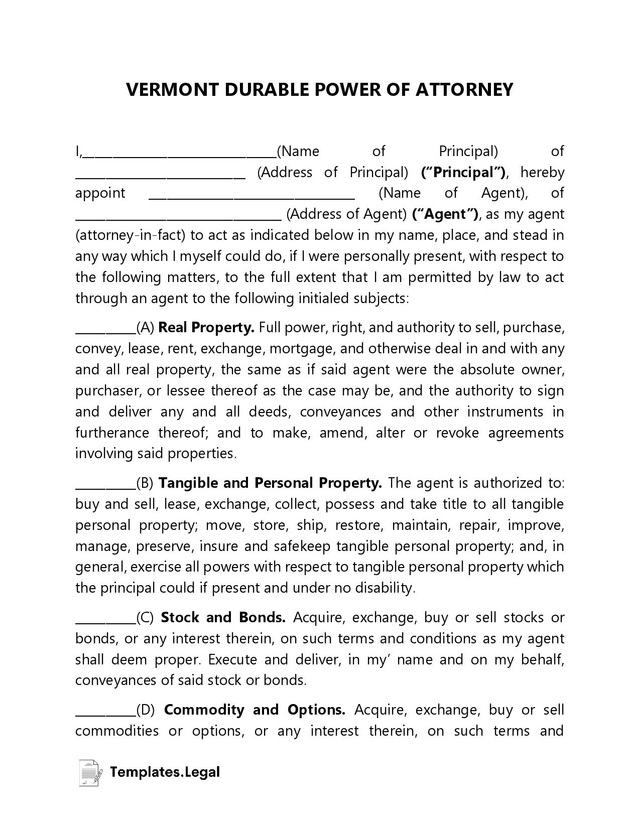 Vermont Durable Power of Attorney - Templates.Legal