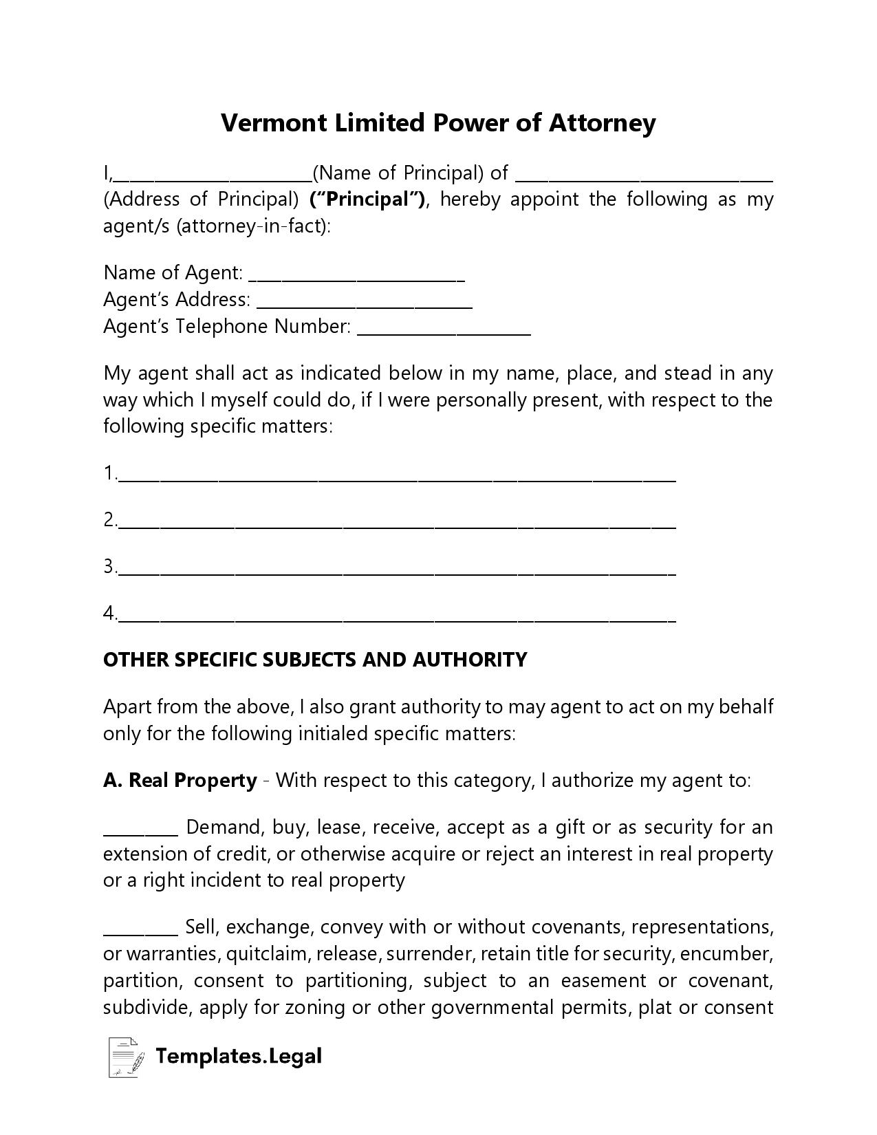 Vermont Limited Power of Attorney - Templates.Legal