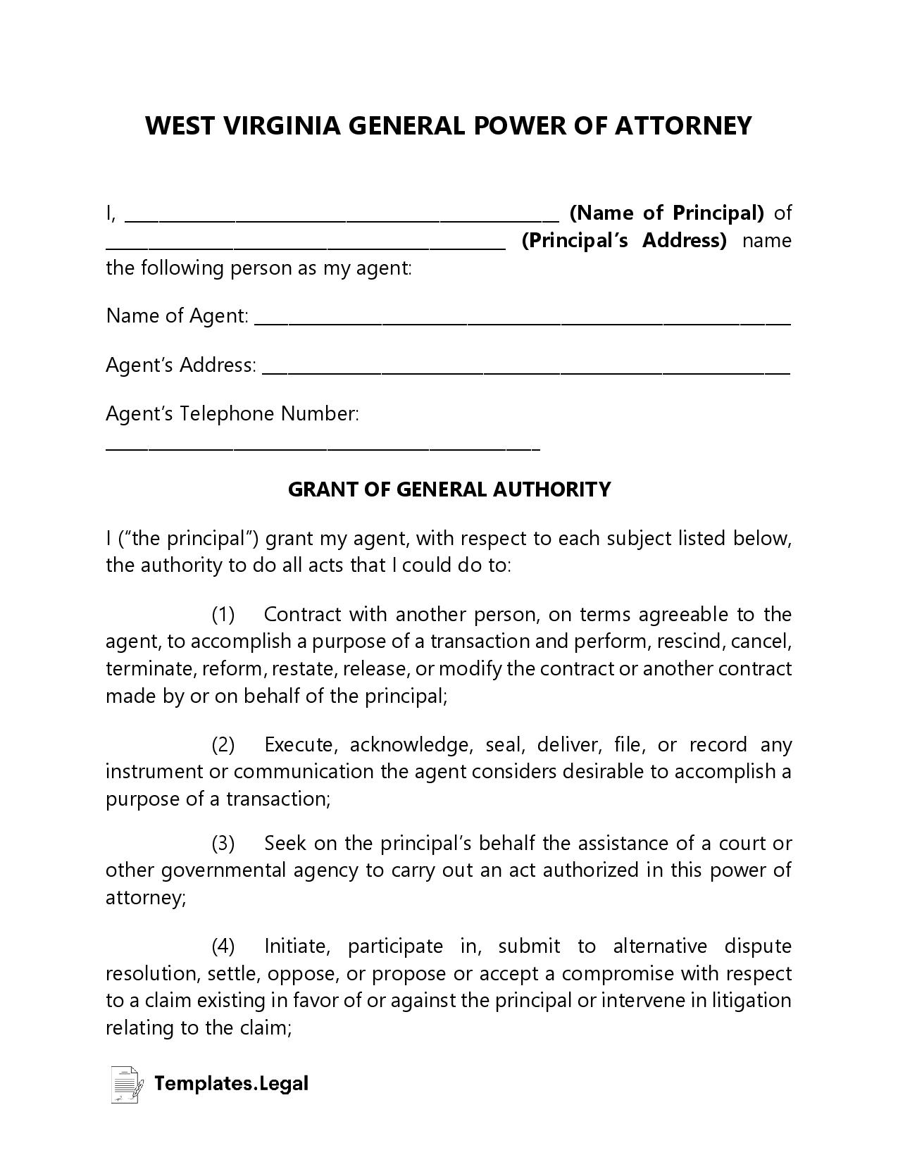West Virginia General Power of Attorney - Templates.Legal