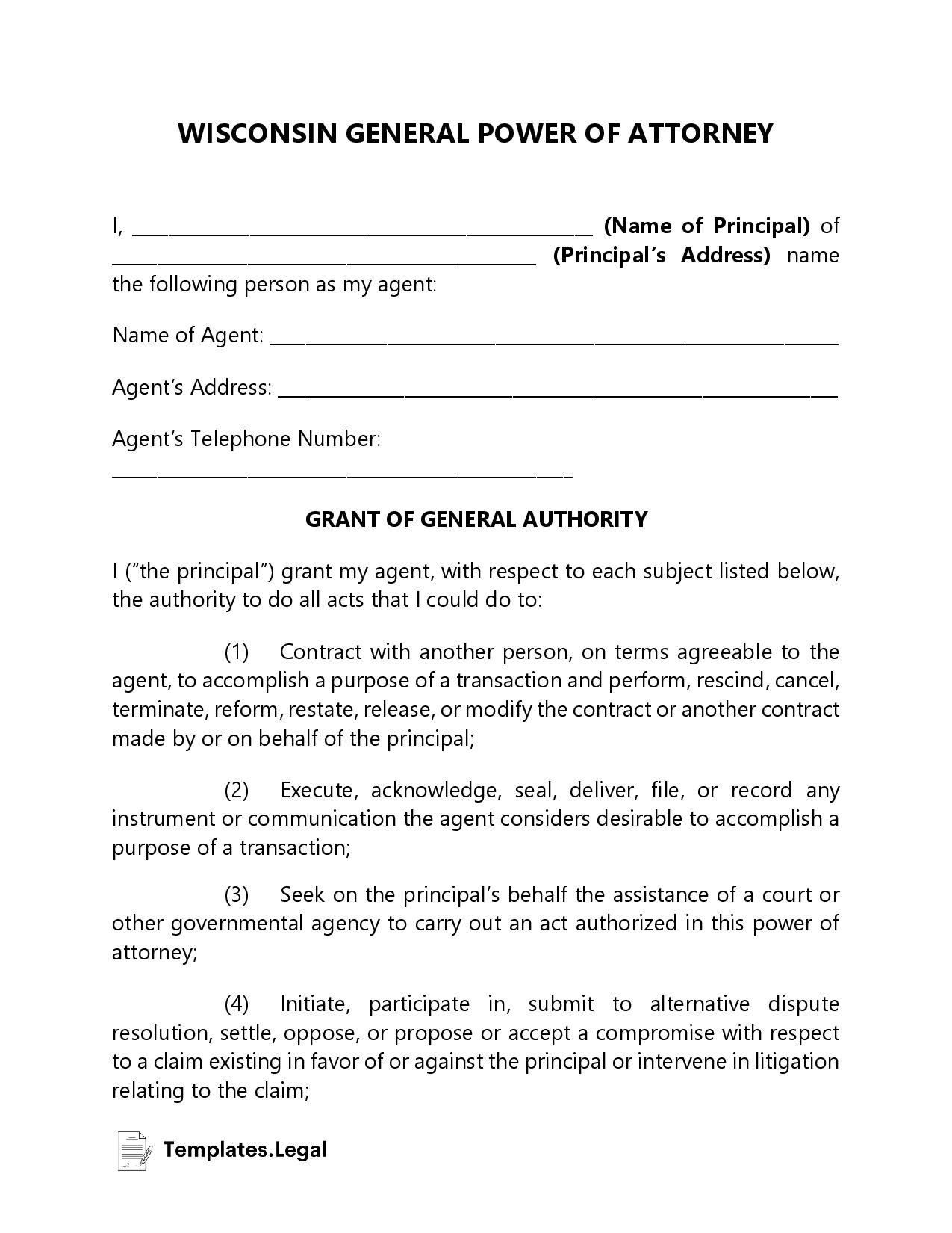 Wisconsin General Power of Attorney - Templates.Legal