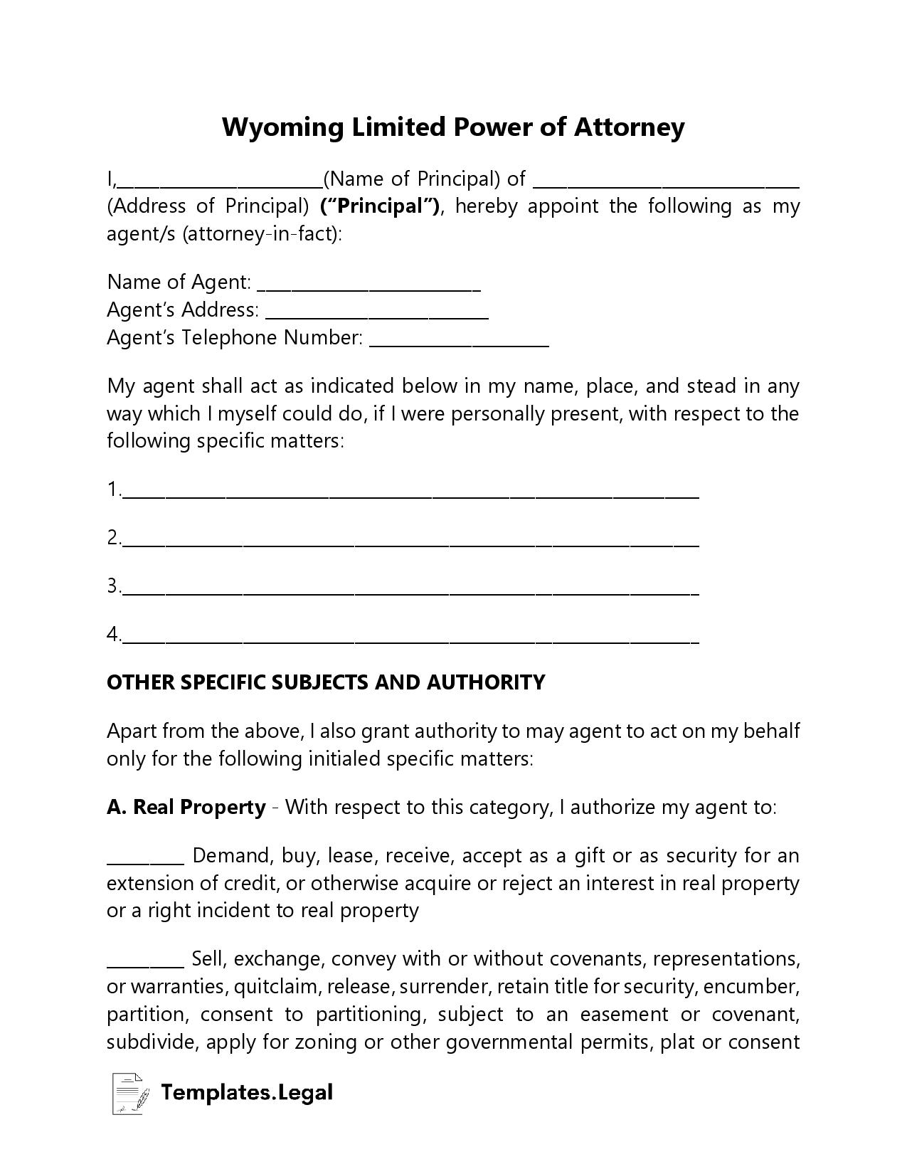 Wyoming Limited Power of Attorney - Templates.Legal